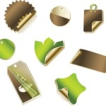 Set Of Golden Coffee Stickers and Tags Vector