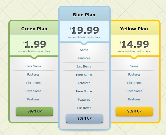 Free flat pricing table design template psd titanui for Table sheet design
