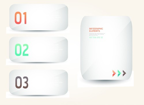 Free White Blank Number Labels For Infographic Vector ...