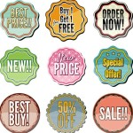 Collection Of Vector Vintage Sale Labels Stickers 02