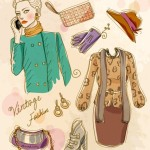 Vector Vintage Illustration Of Fashion Girl and Women's Accessories 09
