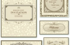 Elegant Wedding Invitation Card Design Vector 01