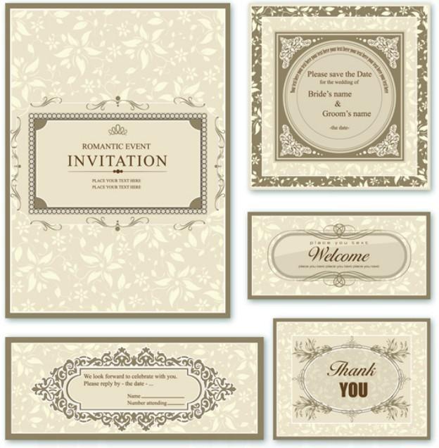 Free Elegant Wedding Invitation Card Design Vector 01
