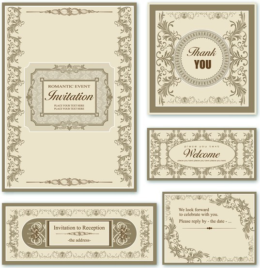 Free Elegant Wedding Invitation Card Design Vector 02