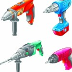 Set Of Vector Electric Power Tools 01