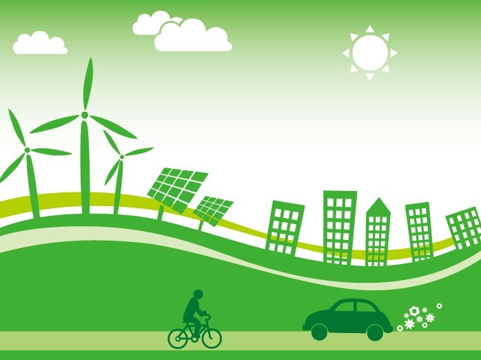 ... bike, bicycle, people, car, sun, Buildings, wind energy, Solar Energy