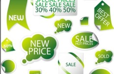 Set Of Vector Green Retail Store Elements