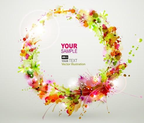 Free Bright & Colorful Grunge Splash Flower Background Vector 01 ...