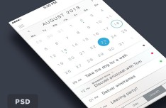 Clean iOS 7 Concept Calendar Interface PSD