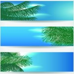 Set Of Vector Summer Paradise Banners 01