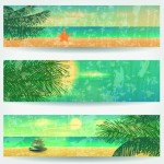 Set Of Vector Summer Paradise Banners 03