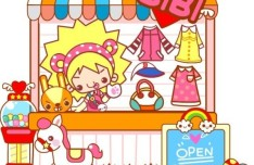 Cute Cartoon Clothing Store Illustration Vector