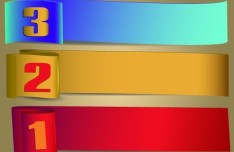 3 Colors Number Labels Vector
