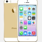 Gold iPhone 5S with iOS 7 PSD Template PSD
