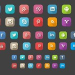 14 Flat Rounded Social Icons With Long Shadows PSD
