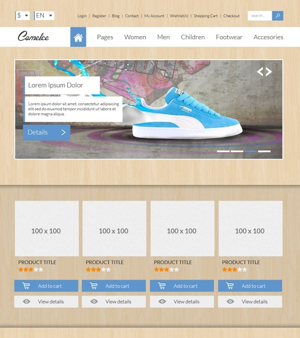 Free comelce flat e commerce website template psd titanui for E commerce sites templates