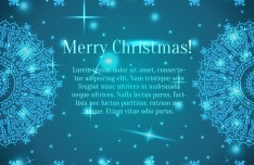 Blue Merry Christmas Background With Vintage Floral Border Vector 03