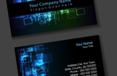 Dark Digital Business Card Design Vector