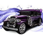 Classic Car Illustration with Water Splash Background Vector 02