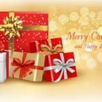 Merry Christmas and Happy New Year Gift Boxes Vector