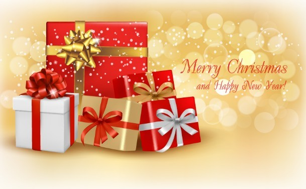 Free Merry Christmas and Happy New Year Gift Boxes Vector ...