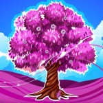 Bright Rose Red Tree Vector Illustration