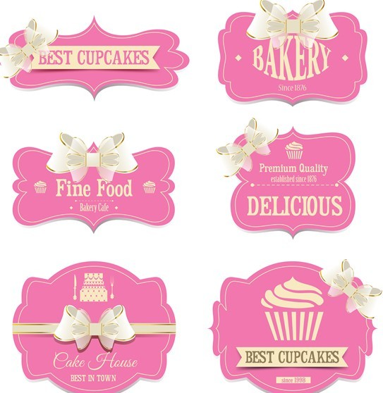 Free Set Of Sweet Labels With Ribbon Bows Vector 02 Titanui