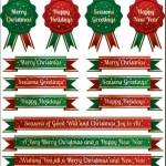 Set Of Green & Red Christmas Ribbons and Badges Vector 01