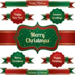 Set Of Green & Red Christmas Ribbons and Badges Vector 02