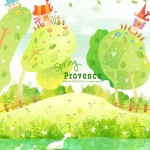Cartoon Spring Provence Landscape Vector Illustration 02