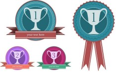 Flat Styled Winner Badges Vector