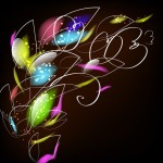 Bright Colorful Abstract Line Flower Background Vector 03