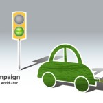 Green ECO World Campaign Car Vector Illustration