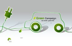 Green ECO World Campaign Green Tire Vector Illustration