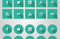 Flat Green Social Icons With Long Shadows