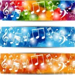 Bright Music Banners with Musical Notes Backgrounds Vector 01