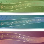 Bright Music Banners with Musical Notes Backgrounds Vector 02