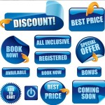 Set Of Vector Blue Glossy Retail Store Promotion Labels