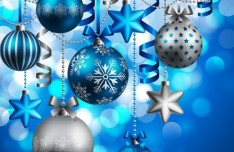 Blue Merry Christmas Decorations Vector 01