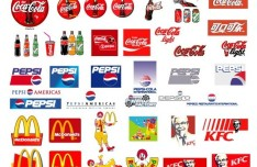 Set Of World Popular Food and Drink Brand Logos Vector