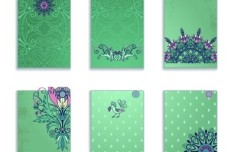 Set Of Green Card Templates with Classical Pattern Backgrounds 01