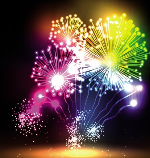 free colorful  u0026 bright fireworks background vector 04