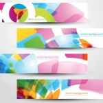 Colored Bright Web Banner & Header Designs Vector 02