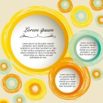 Hand Drawn Yellow Abstract Circles Background Vector 03