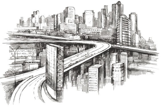 How to Draw a Cityscape in 5 Steps | Outline images ... |City Building Sketches