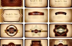 Retro Brown Card Design Template Set Vector