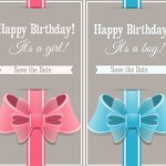 Sweet Happy Birthday Cards With Ribbon Bows Vector