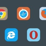 5 Flat Rounded Web Browser Icons PSD