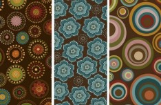 Set Of Vector Vintage Abstract Flower Banners