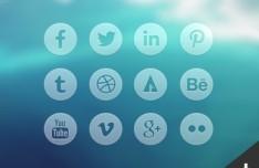 12 Round Transparent Social Icons PSD